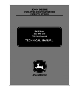 John Deere 260 270 Skid Steer Loader Service Technical Manual Tm1780 | eBooks | Automotive