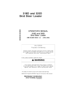 John Deere 318d 320d Skid Steer Loader Operators Manual Omt253020