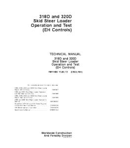 John Deere 318d 320d Skid Steer Loader (Eh Controls) Operation And Test Service Technical Manual Tm11406 | eBooks | Automotive
