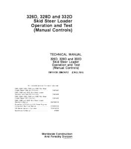 John Deere 326d 328d 332d Skid Steer Loader (Manual Controls) Operation And Test Service Technical Manual Tm11430 | eBooks | Automotive
