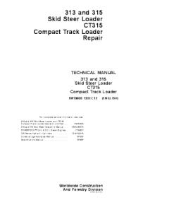 John Deere 313 315 Ct315 Skid Steer Compact Track Loader Repair Service Technical Manual Tm10608 | eBooks | Automotive