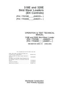 John Deere 318e 320eskid Steer Loader (Eh Controls) Operation And Test Service Technical Manual Tm13007x19 | eBooks | Automotive
