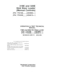 John Deere 318e 320e Skid Steer Loader (Manual Controls) Operation And Test Service Technical Manual Tm13084x19   eBooks   Automotive