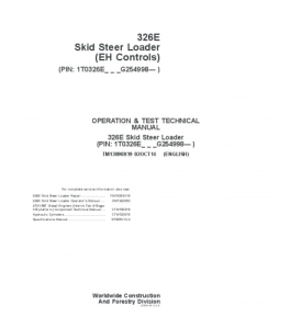 John Deere 326e Skid Steer Loader (Eh Controls) Operation And Test Service Technical Manual Tm13090x19 | eBooks | Automotive