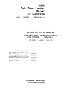 John Deere 326e Skid Steer Loader (Eh Controls) Repair Service Technical Manual Tm13093x19 | eBooks | Automotive