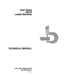 John Deere 310 Backhoe Loader Service Technical Manual Tm1036 | eBooks | Automotive