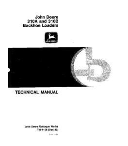 John Deere 310a 310b Backhoe Loader Service Technical Manual Tm1158   eBooks   Automotive