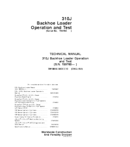 John Deere 310j Backhoe Loader Operation & Test Service Technical Manual Tm10846 | eBooks | Automotive