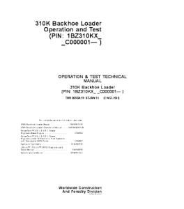 John Deere 310k Backhoe Loader Operation & Test Service Technical Manual Tm13056x19 | eBooks | Automotive