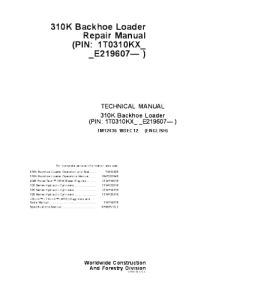 John Deere 310k Backhoe Loader Repair Service Manual Tm12436 | eBooks | Automotive