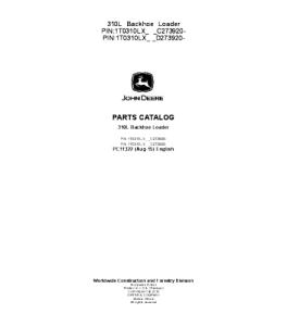 John Deere 310l Backhoe Loader Catalog Manual Parts Pc11322 | eBooks | Automotive