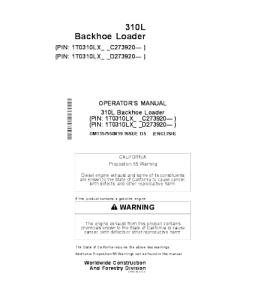 John Deere 310l Backhoe Loader Operators Manual Omt357550x19 | eBooks | Automotive