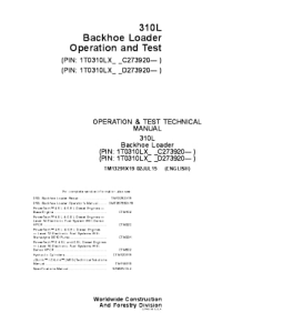 John Deere 310l Backhoe Loader Operation And Test Service Technical Manual Tm13291x19 | eBooks | Automotive