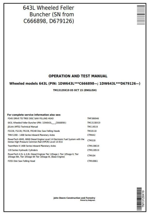 First Additional product image for - John Deere 643L (SN.C666898-,D679126-) Wheeled Feller Buncher Diagnostic Service Manual (TM13129X19)