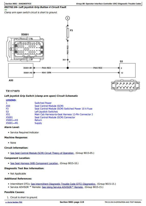 Second Additional product image for - John Deere 643L (SN.C666898-,D679126-) Wheeled Feller Buncher Diagnostic Service Manual (TM13129X19)