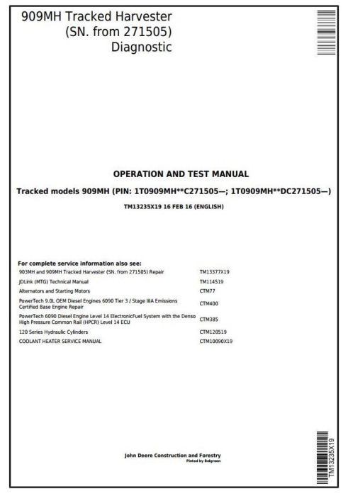 First Additional product image for - John Deere 909MH (SN.271505-) Tracked Harvester Diagnostic and Test Service Manual (TM13235X19)