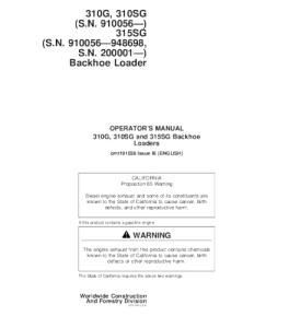 John Deere 310g 310sg 315sg Backhoe Loader Operators Manual Omt191038 | eBooks | Automotive