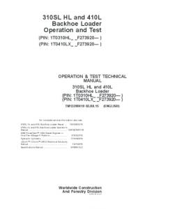 John Deere 310sl Hl 410l Backhoe Loader Operation And Test Service Technical Manual  Tm13299x19 | eBooks | Automotive