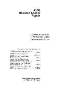 john deere 410g backhoe loader technical service manual tm1882