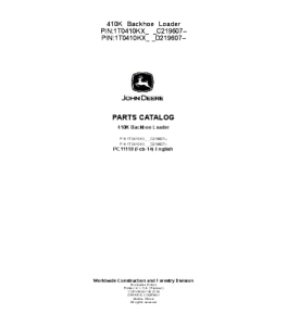 john deere 410k backhoe loader parts catalog manual pc11119