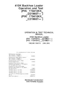 john deere 410k backhoe loader operation and test service technical manual tm12499