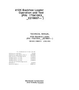 John Deere 410k Backhoe Loader Operation And Test Service Technical Manual Tm12493 | eBooks | Automotive