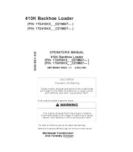 john deere 410k backhoe loader operators manual omt305693
