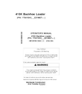 John Deere 410k Backhoe Loader Operators Manual Omt281952 | eBooks | Automotive