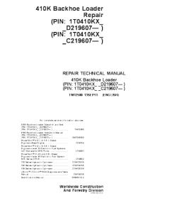 john deere 410k backhoe loader technical service manual tm12500