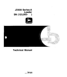 john deere 500 series a backhoe loader technical service manual tm1025