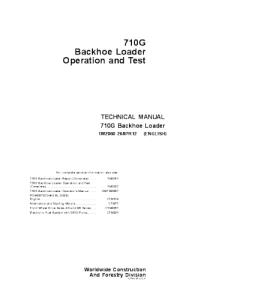 John Deere 710g Backhoe Loader Operation And Test Technical Service Manual Tm2060 | eBooks | Automotive