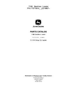John Deere 710k Backhoe Loader Parts Catalog Manual Pc11121 | eBooks | Automotive