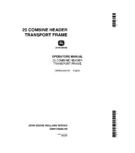 john deere combine 25 header transport frame operators manual omh120058