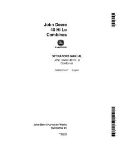 JOHN DEERE 40 Hi Lo COMBINE OPERATOR MANUAL OMH90734   eBooks   Automotive