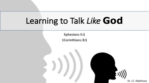 learning to talk like god: another speaking spirit
