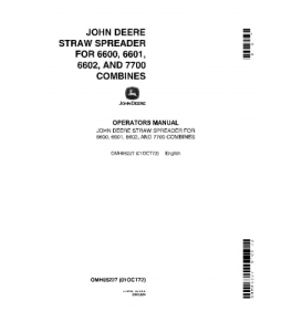 JOHN DEERE 6600 6601 6602 7700 Straw Spreader COMBINE OPERATOR MANUAL OMH85227   eBooks   Automotive