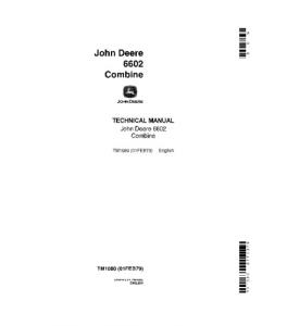 John Deere 6602 Combine Technical Service Manual Tm1080 | eBooks | Automotive