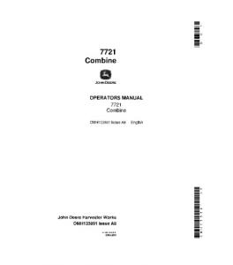 John Deere 7721 Combine Operator Manual Omh133891   eBooks   Automotive