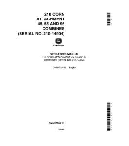 john deere 45 55 95 combine 210 corn attachment operator manual omn97708