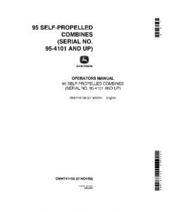 JOHN DEERE 95 Self-Propelled COMBINE OPERATOR MANUAL OMH741158   eBooks   Automotive
