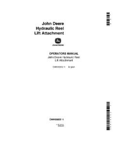 JOHN DEERE 55 95 Hydraulic Reel Lift ATTACHMENT COMBINE OPERATOR MANUAL OMH90852 | eBooks | Automotive