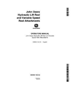 JOHN DEERE 55 95 105 Hydraulic Lift Reel Variable Speed Reel Attachment COMBINE OPERATOR MANUAL OMH91105 | eBooks | Automotive