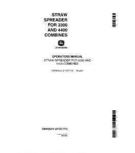 JOHN DEERE Straw Spreader 3300 4400 COMBINE OPERATOR MANUAL OMH85222 | eBooks | Automotive
