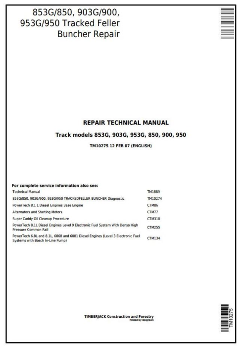 First Additional product image for - John Deere 853G/850, 903G/900, 953G/950 Tracked Feller Buncher Service Repair Manual (TM10275)