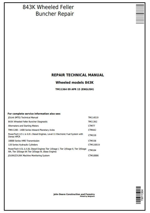 First Additional product image for - John Deere 843K Wheeled Feller Buncher Service Repair Technical Manual (TM11364)
