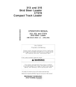 John Deere 313 315 Ct315 Wheeled Excavator Operator Manual Omt235575 | eBooks | Automotive