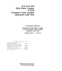 John Deere 313 315 Ct315 Skid Steer Compact Track Loader Operation And Test Service Technical Manual Tm10605 | eBooks | Automotive