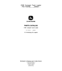 John Deere 319e Compact Track Loader Parts Catalog Manual Pc11240   eBooks   Automotive