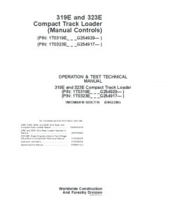 JOHN DEERE 319E 323E vCOMPACT TRACK LOADER (MANUAL CONTROLS) OPERATION AND TEST SERVICE TECHNICAL MANUAL TM13086X19   eBooks   Automotive