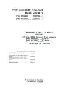 John Deere 329e 333e Compact Track Loader Operation And Test Service Manual Tm12805 | eBooks | Automotive